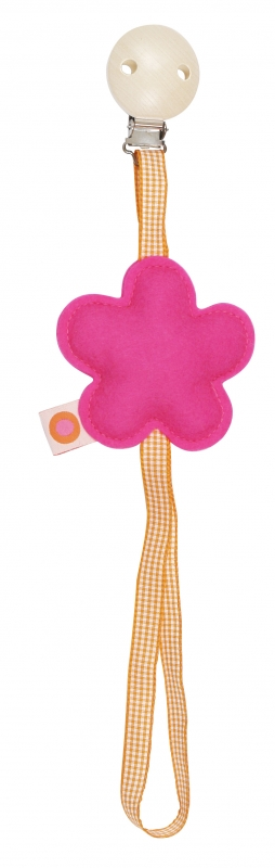 Schnullerkette Blume ping / orange