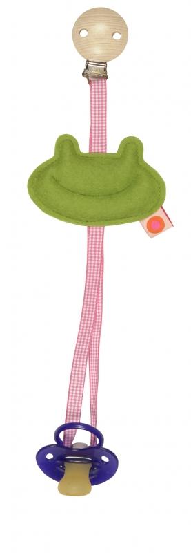Schnullerkette Frosch gruen / pink