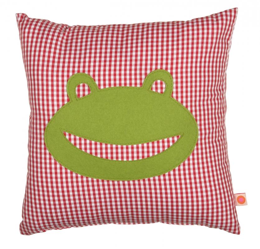 Kissen Frosch rot / gruen